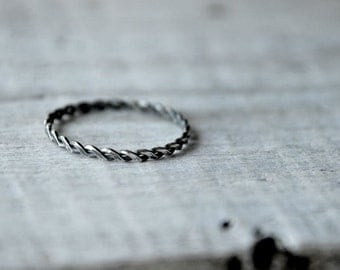 Oxidized Braided Sterling silver ring, stackable
