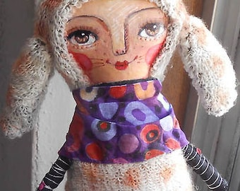 Original Art Doll - Alina Doll with Bunny Ears, Hand made OOAK by miliaart studio