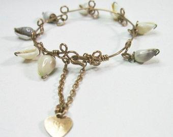 Tiny Antique Victorian Wire Baby Bracelet - Seashells - Heart Charm - C1900