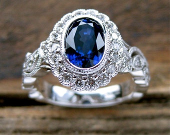 Royal Deep Blue Ceylon Sapphire Engagement Ring in 14K White Gold with Diamonds in Flower Buds & Leafs in Vintage Style Vine Setting Size 6