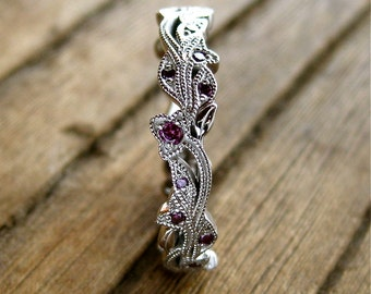 Purple Diamond Wedding Ring in 14K White Gold with Flower Buds & Leafs on Vine Motif Size 5