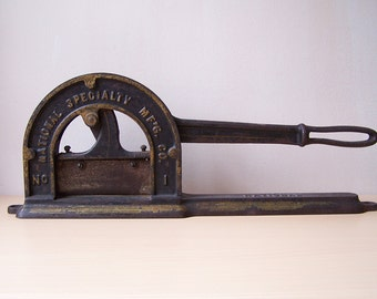 Antique Cast Iron Plug Tobacco Cutter No. 1 by National Specialty Mfg., Philadelphia