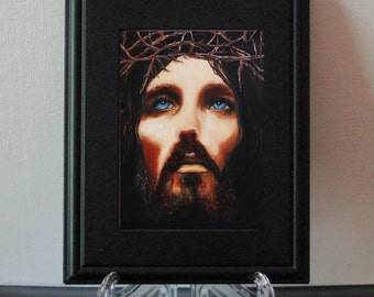 Print,  Jesus Print, Jesus,  Religious Print, Miniature Print, Framed Print,  Signed  Print,