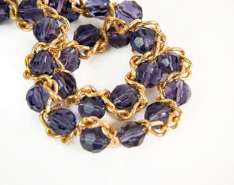 1990s Nolan Miller Glamour Collection Purple Bead and Gold Tone Chain Adustable Choker Necklace NIB