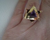 Handmade 14kt Yellow Gold Star Ring with Trillion cut Amethyst