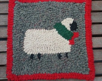 Festive Sheep Beginner Rug Hooking Kit by Sharon Perry on Cotton Monks Cloth