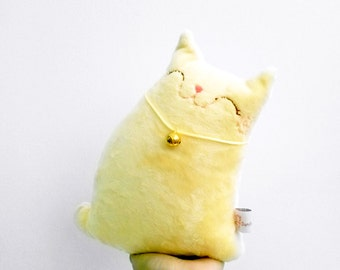 Yellow Stuffed Cat Plush, Stuffed Animal, Cat Softie, Stuffed Toy Cat, Cat Holiday Decor- Lemon Baby
