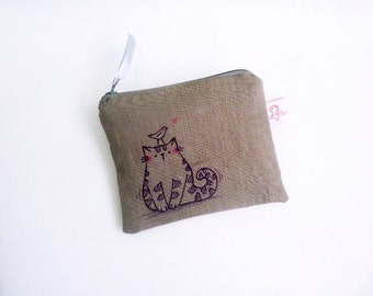 Grey Purse, Cat Wallet, Cute Pouch, Cat Coin Purse, Cat Zipper Pouch, Coin Purse, Cat Purse - Illustrated Cat