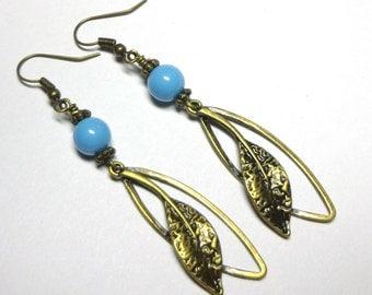 Earrings Swarovski Austrian Aqua Crystal Pearls,  Antique Brass Leaves, Brass and Pearl Earrings