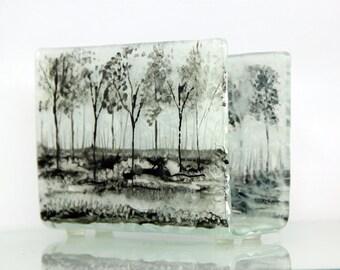Napkin holder, brigh Fused glass black trees, white landscape , House warming gift, Hostess gift, Interior Design