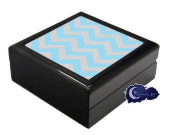 Blue and Grey Chevron Pattern - Jewelry and Keepsake Box