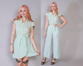 Vintage 70s 3 Piece Set / 1970s Mint Green Crop Top Mini Skirt & Bell Bottom Pants XS
