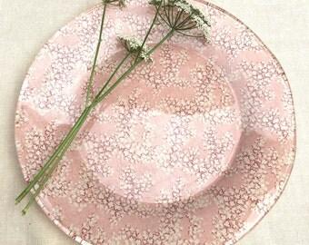 Handmade Flower Fabric Glass Plate
