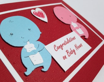 "Handmade Stampin Up ""Congratulations on Baby News"" Blank Card: Red, Pink, Blue"