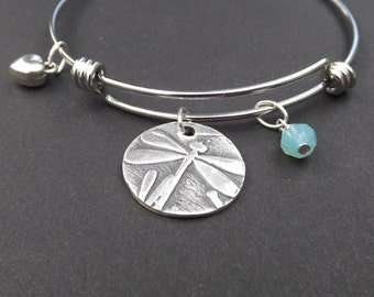 Single Dragonfly Bangle bracelet, Dragonfly charm bracelet, Silver Dragonfly expandable bangle, Dragonfly gift, gift for sister