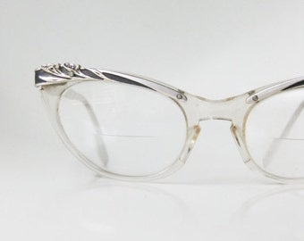 SALE Cat Eye Glasses 1960s Vintage Silver Metallic Pin Up Girl Womens 60s Mad Men Fashion Flowers Floral Classic Clear Rockabilly Bombshell