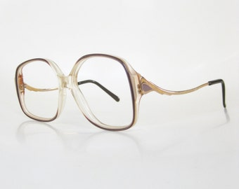 Vintage Avant Garde Eyeglasses Womens Oversized Glasses 1970s 70s Seventies New Wave Gold Metallic Golden Brown Taupe Retro Indie Hipster