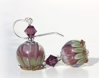 Glass Bead Earrings, Lampwork Beads, Plum Purple Lavender Sage, Water Lilies, Swarovski, Dangle Earrings, Sterling Silver, Handmade Beads