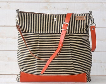 BEST SELLER Diaper bag / Messenger bag WAXED Stockholm Black ecru geometric nautical striped  Leather /  Featured on The Martha Stewart