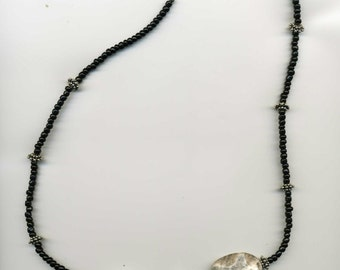 "Handcrafted - Gray Marble & Black Seed Bead Necklace - 22"" - Sterling ""S"" Clasp - Sterling Silver Spacers - TD-0303-H"