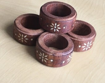 Vintage Napkin Ring Set Inlaid Wood Table Setting Qty 4