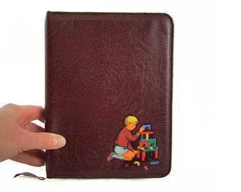 Boy with Blocks Vintage Up-cycled Writing Folder/Kindle Case