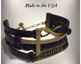 Sideways cross infinity faith stacked leather bracelet Christian jewelry Religious jewelry Confirmation gift Christian bracelet