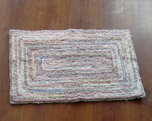 Soft Tea Rose Pink and Creamy Honey Beige Locker Hook Recycled Rug