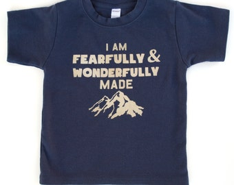 Toddler or Kids Shirt, Fearfully and Wonderfully Made, Christian, Ink Free print, Sizes 12m to 8,  Free Shipping