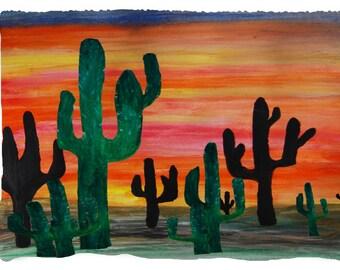 Desert cactus sunset throw blanket from my original art.