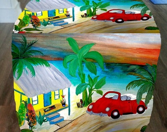 Red convertible vw beach house cube ottoman from my art