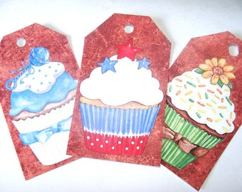 Cute Cupcake Gift Tags,Set Of 4,Chocolate Brown Background Decorated,Birthday Decorations,Birthday Place Tags,Direct Checkout,Ready to Ship
