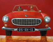 131 Volvo P1800 red - folded art card 15x15cm/6x6inch with envelope