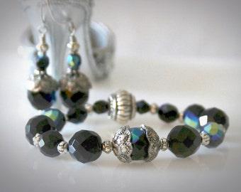 "Beaded ""Black Diamond"" Bracelet & Earring Set. Sparkle and Bling Jewelry."