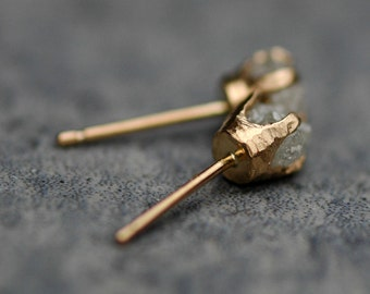 Ready to Ship:  Raw Diamonds in Textured 14k Yellow Gold Post Earrings- Limited Edition