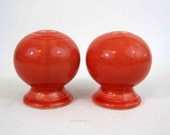 Vintage Red Fiesta Salt and Pepper Shakers. Fiestaware Homer Laughlin China Co.