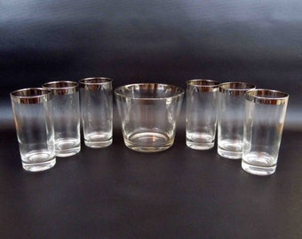Vintage Mid Century Silver Rim Hi Ball Glasses and Ice Bucket Set. Circa 1950's - 1960's.