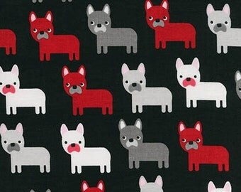 Urban Zoologie Pugs Dogs Black Robert Kaufman Fabric, Choose your cut