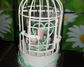 Vintage - Metal Bird Cage Music Box - w/h Swinging Bird - Chinese Craftsman