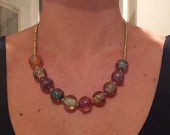 ValVaaniaLampwork Glass Marble Beads Necklace with Brass Beads