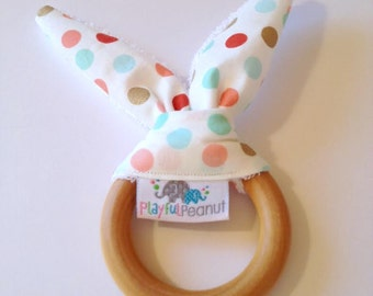 Natural Bunny Teething Ring | Teether | Bunny Ears | Teething Ring | Sparkly Dots