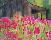 Impressionist Water Color Barn and Flowers Print from Rustysecrets