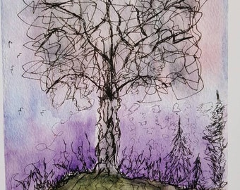 Mixed Media Watercolor Ink Tree Print from Rustysecrets