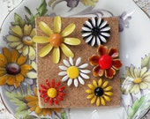 Retro Metal Flowers Themed Vintage Jewelry Push Pins / Thumbtacks, Sunny Yellow, Orange, White, Black Flowers