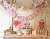 Burlap and Pink 8 Foot Garland PLUS Name Banner Custom Order for Tiffanycaldwell1