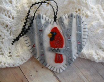 Cardinal in Snowy Birch Ornament - Ready to Ship Embroidered Fiber Art