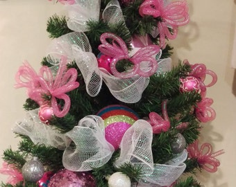 Pink and White Whimsical Tabletop Christmas Tree