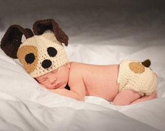 Newborn puppy hat, baby boy puppy hat, crochet puppy hat, newborn photo prop, baby boy clothes, coming home outfit, newborn boy hat