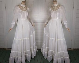 Gunne Sax Wedding Dress is Ivory- Empire Waist Prairie- Victorian / Boho / Hippie