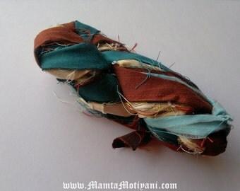 Recycled Silk, Sari Ribbon Yarn, Jewel Toned Multi Colored Yarn, Sari Ribbon, Recycled Sari Silk Ribbon, Sari Silk Ribbons, Ribbon Art Silk